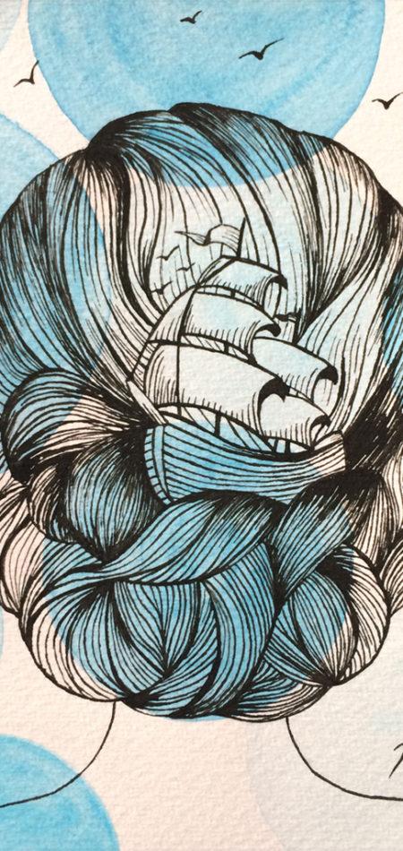 Illustration Head Sea Boat Prints Postcards Close up Ink Watercolor