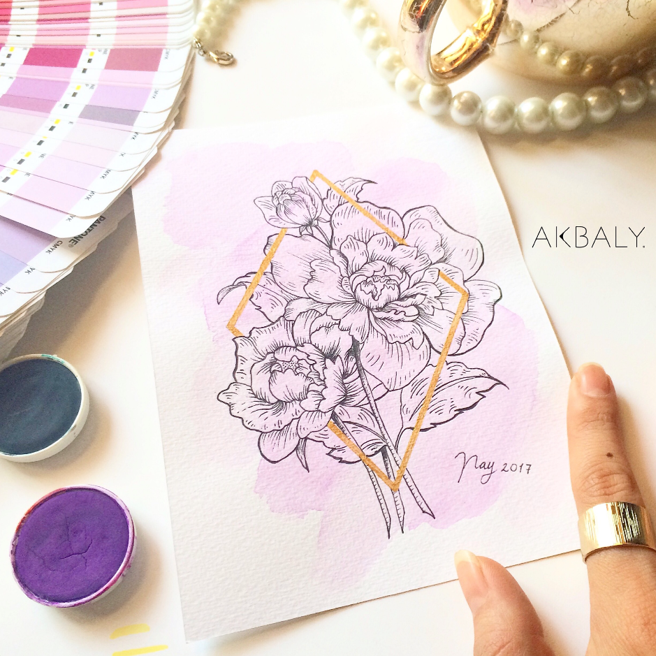 Illustration Collection Floral Prisma Prints Postcards Peony Ink Watercolor