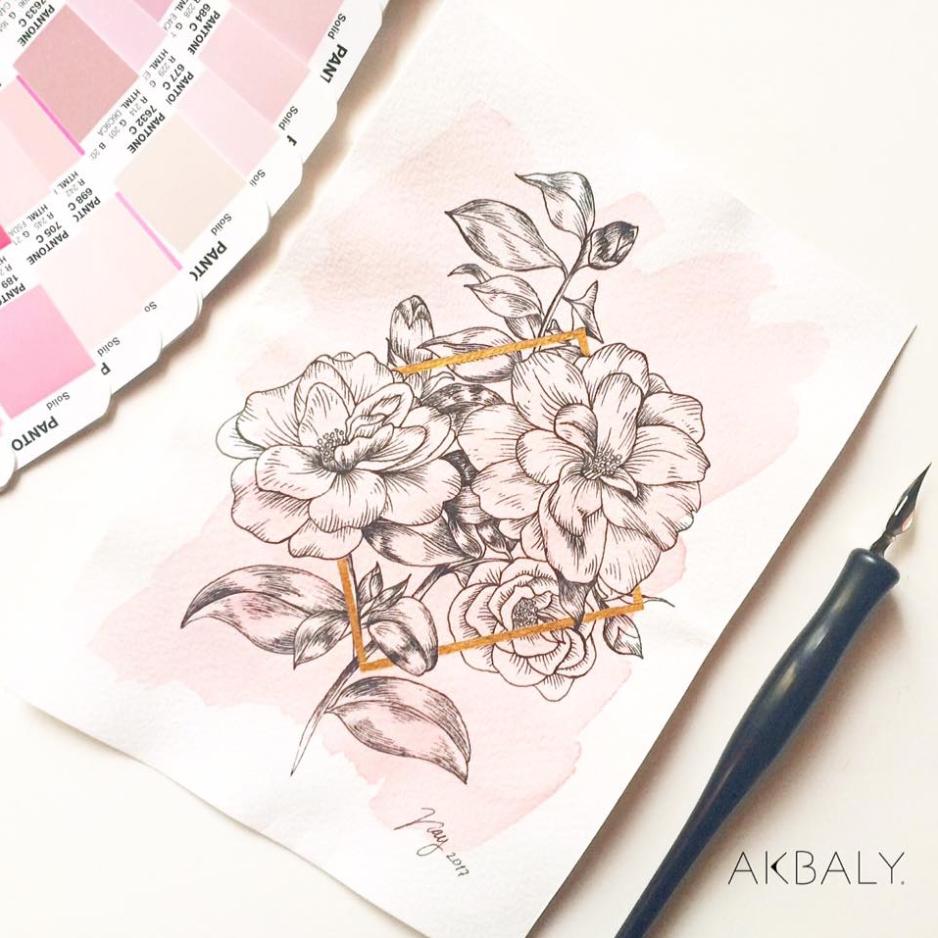 Illustration Collection Floral Prisma Prints Postcards Camelias Ink Watercolor