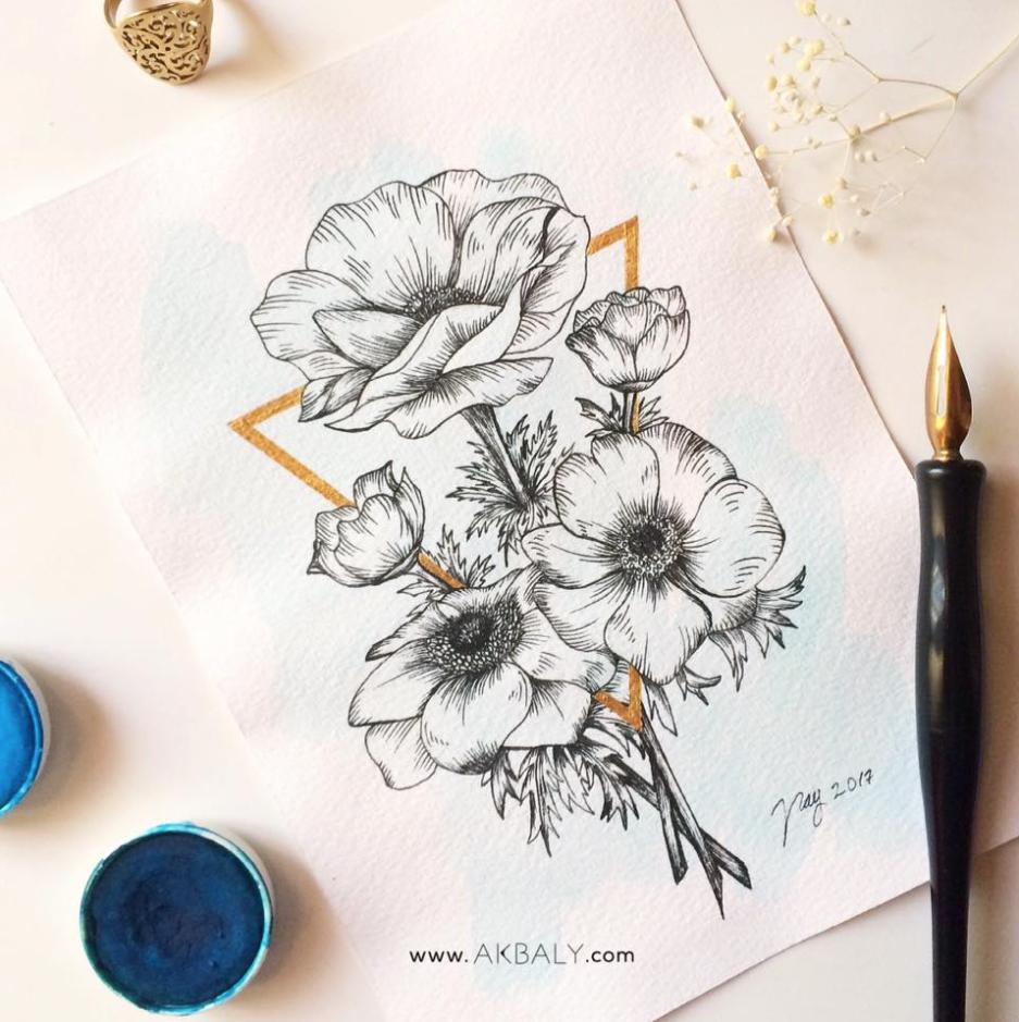 Illustration Collection Floral Prisma Prints Postcards Anemones Ink Watercolor