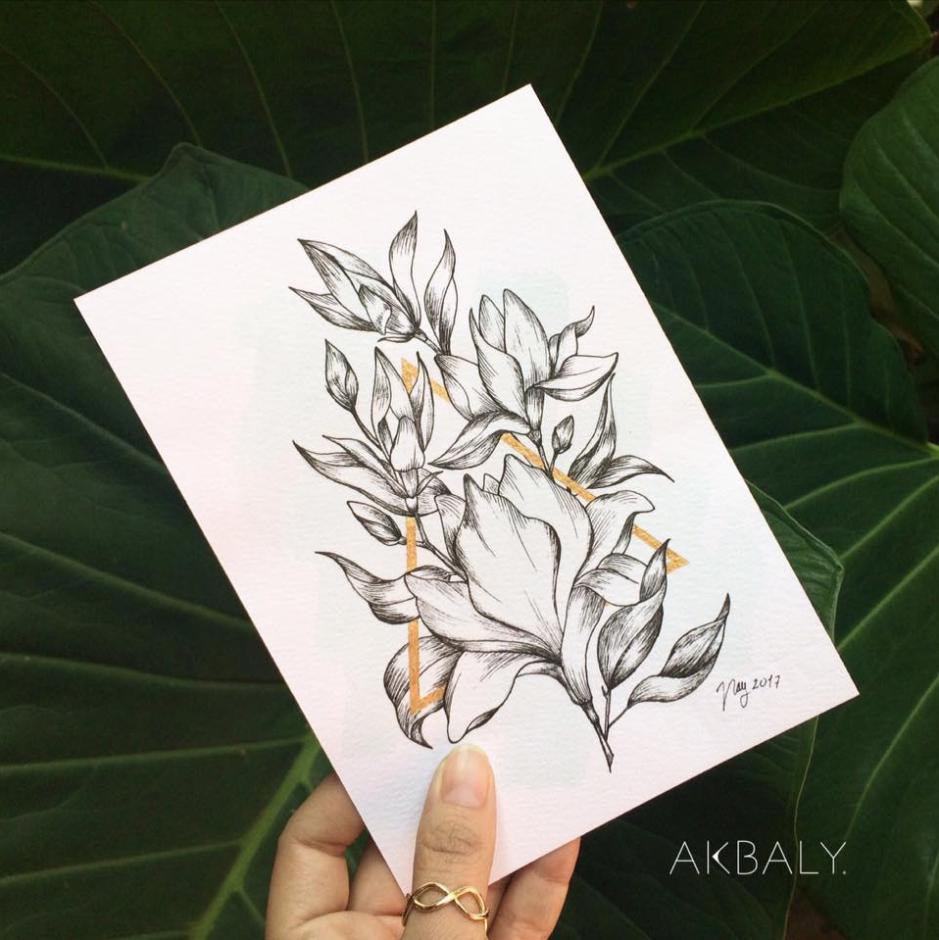 Illustration Collection Floral Prisma Prints Postcards Magnolias Ink Watercolor