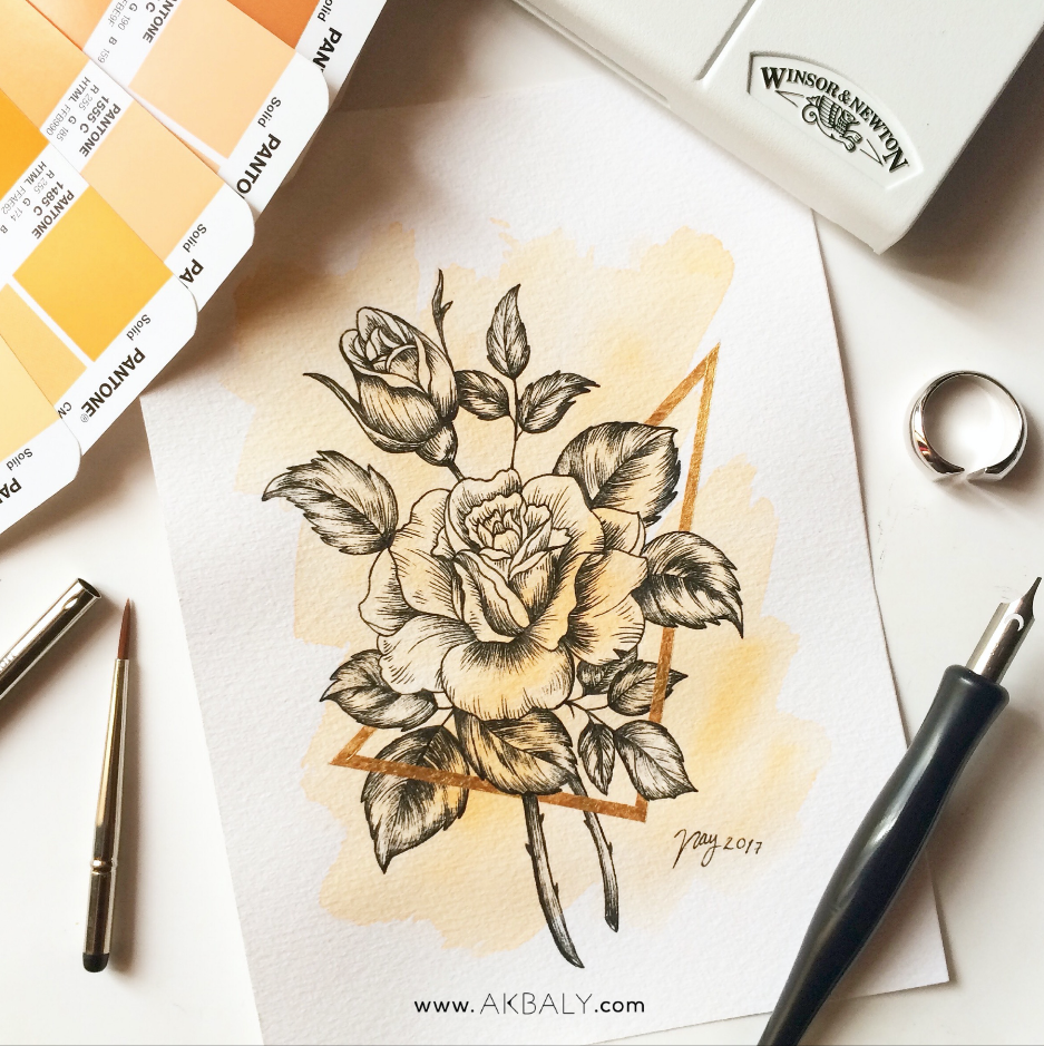 Illustration Collection Floral Prisma Prints Postcards Roses Ink Watercolor