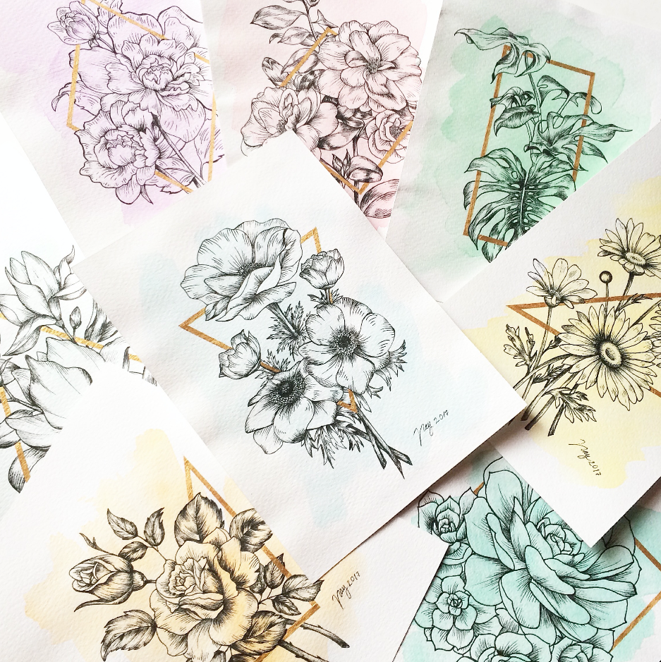 Akbaly Print Collection Floral Prisma Illustration Drawing Floral Ink Watercolor