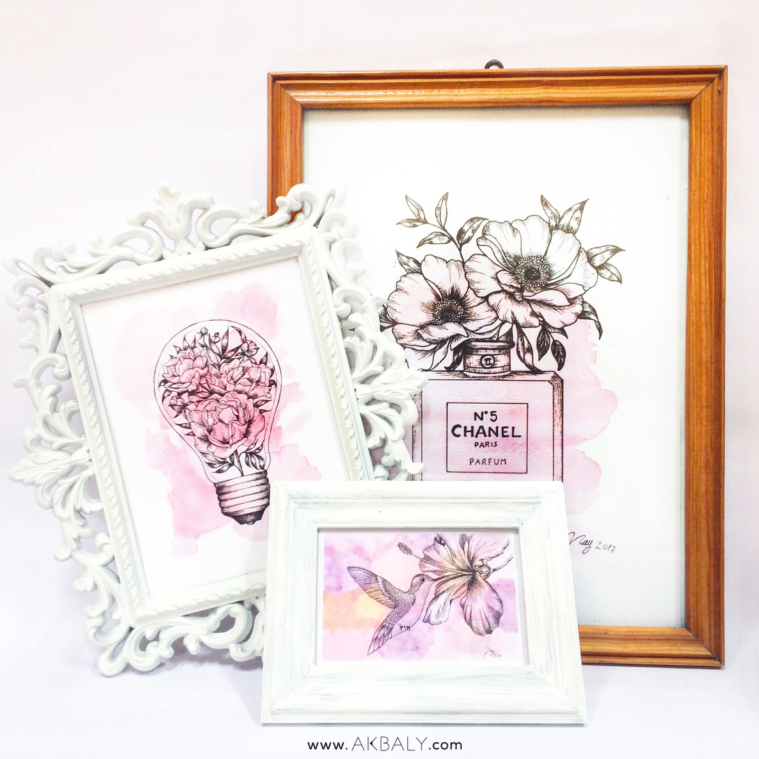 Illustration Floral Collection All In Pink Prints Postcards for sale Ink Watercolor