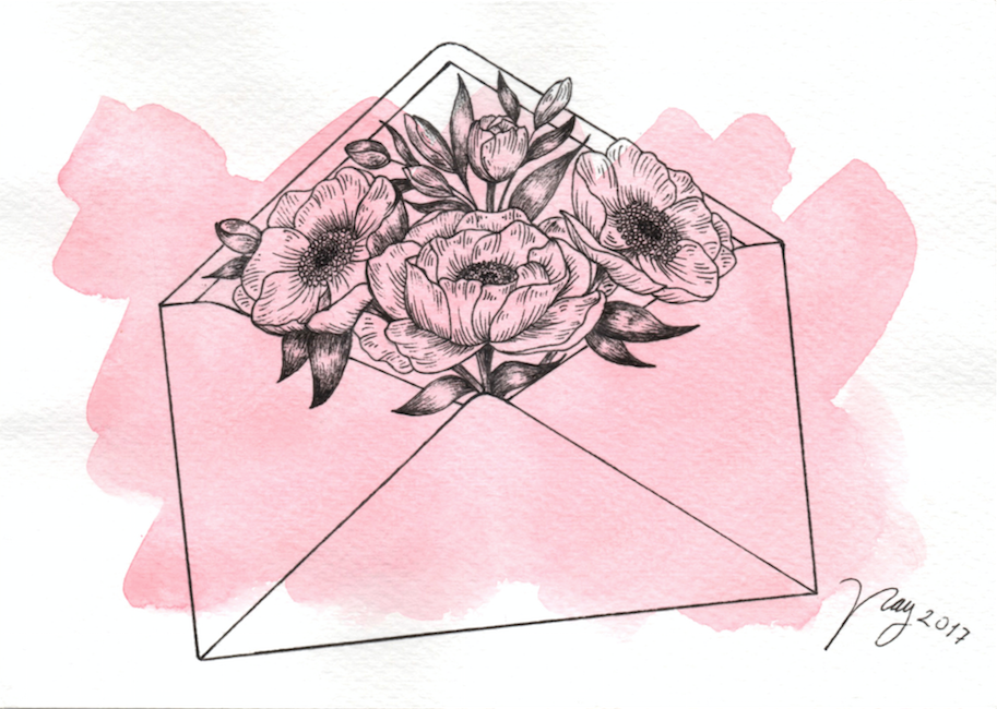 Illustration Floral Collection All In Pink Floral Envelope Prints Postcards Ink Watercolor Ink Watercolor