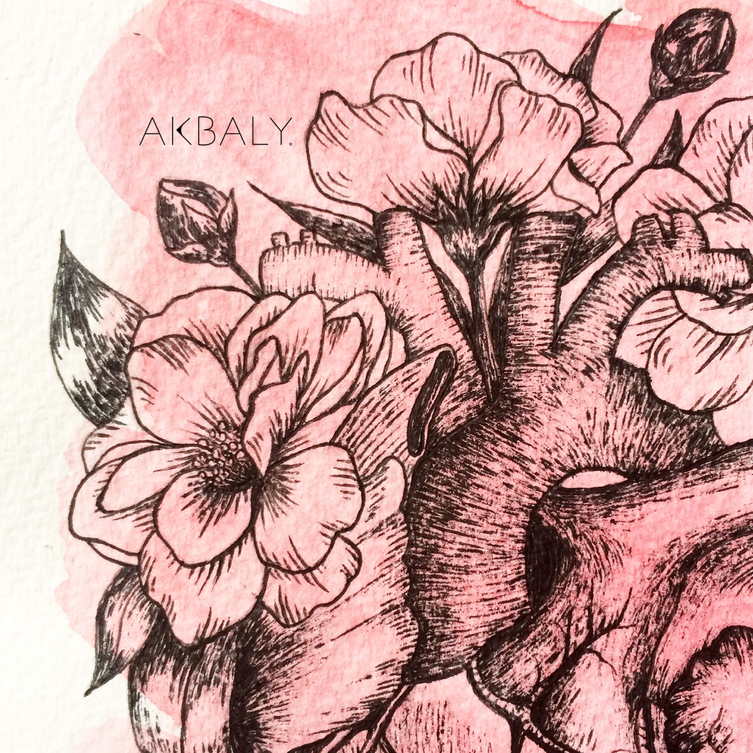 Illustration Floral Collection All In Pink Floral Heart close up Ink Watercolor
