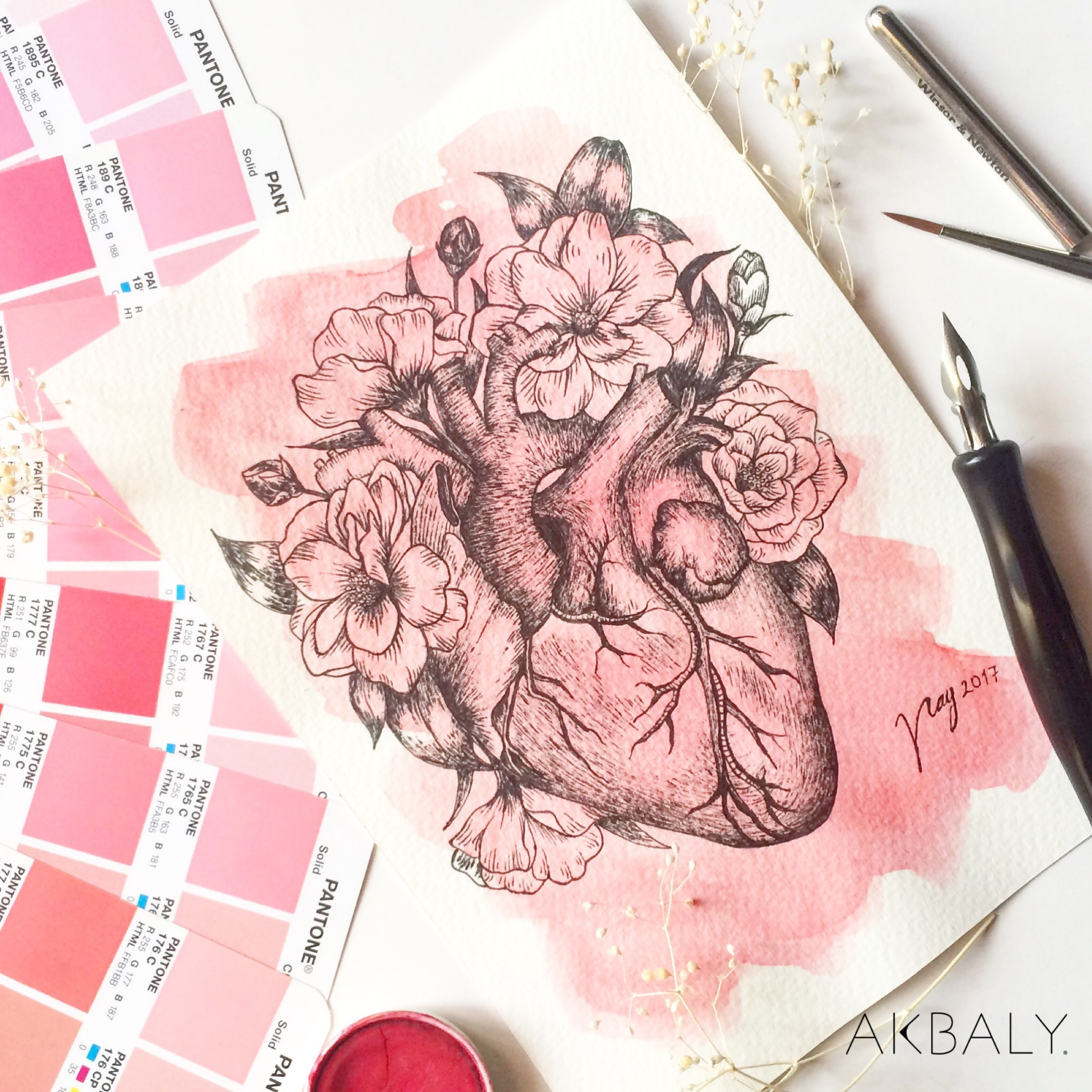 Illustration Floral Collection All In Pink Floral Heart Prints Postcards Ink Watercolor