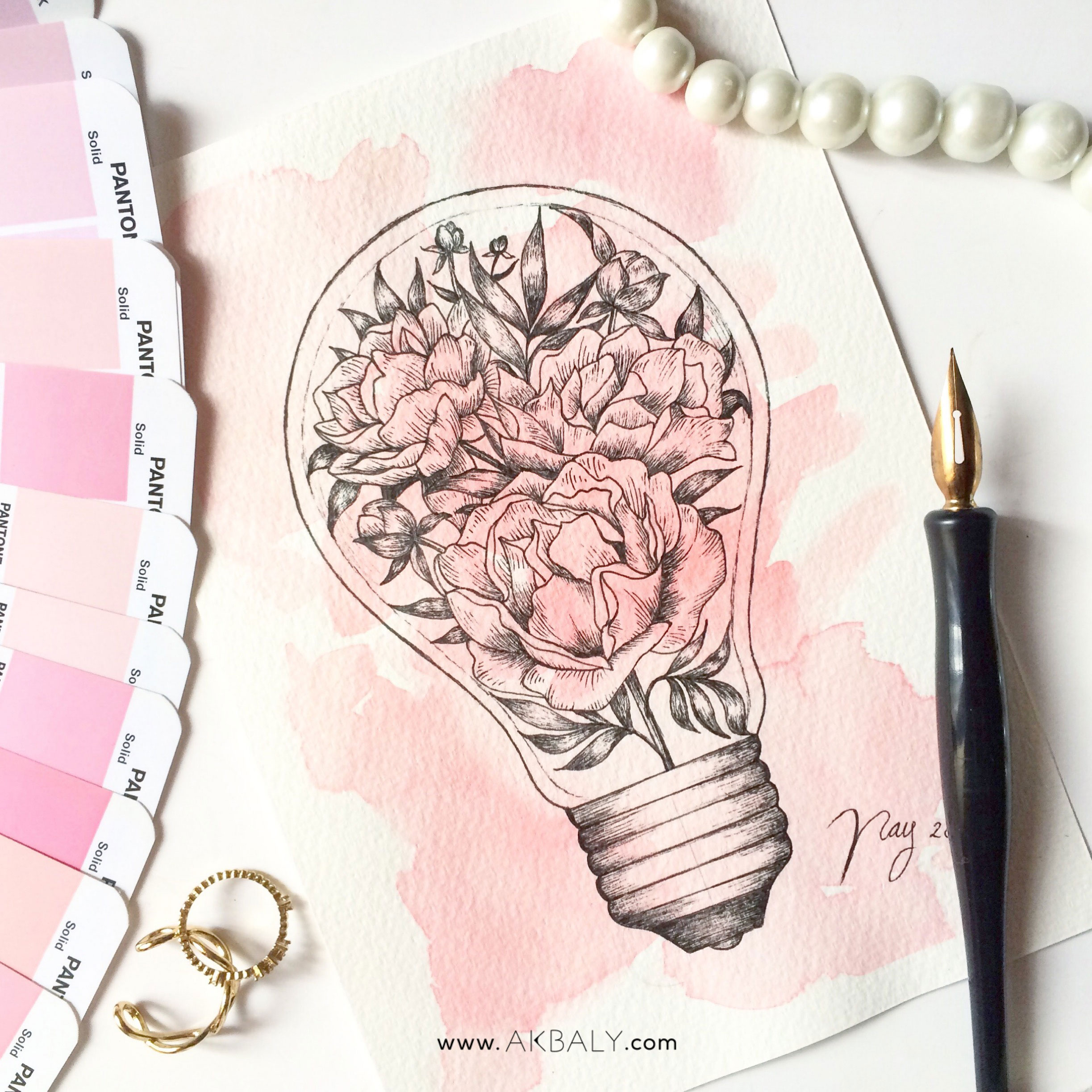 Illustration Floral Collection All In Pink Light Bulb Prints Postcards Ink Watercolor