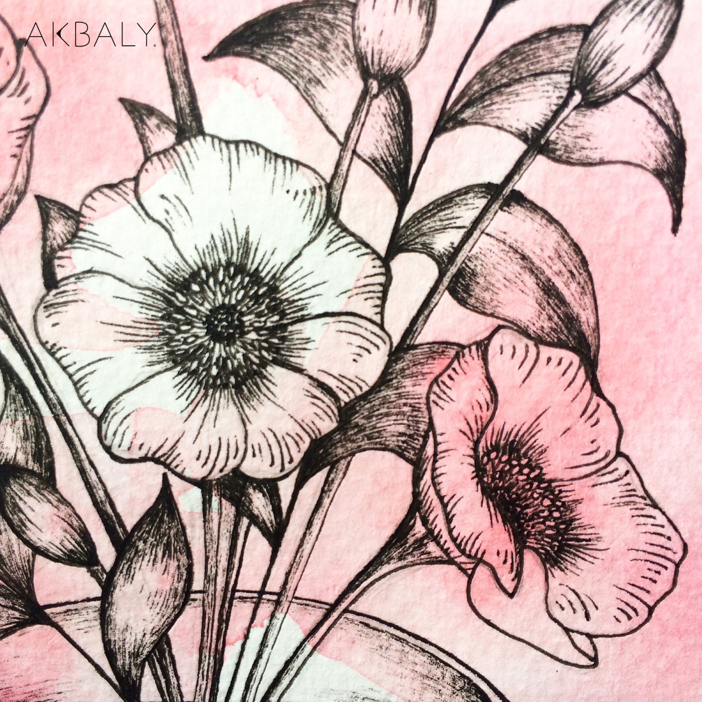 Illustration Floral Collection All In Pink Floral Tea Close Up Ink Watercolor