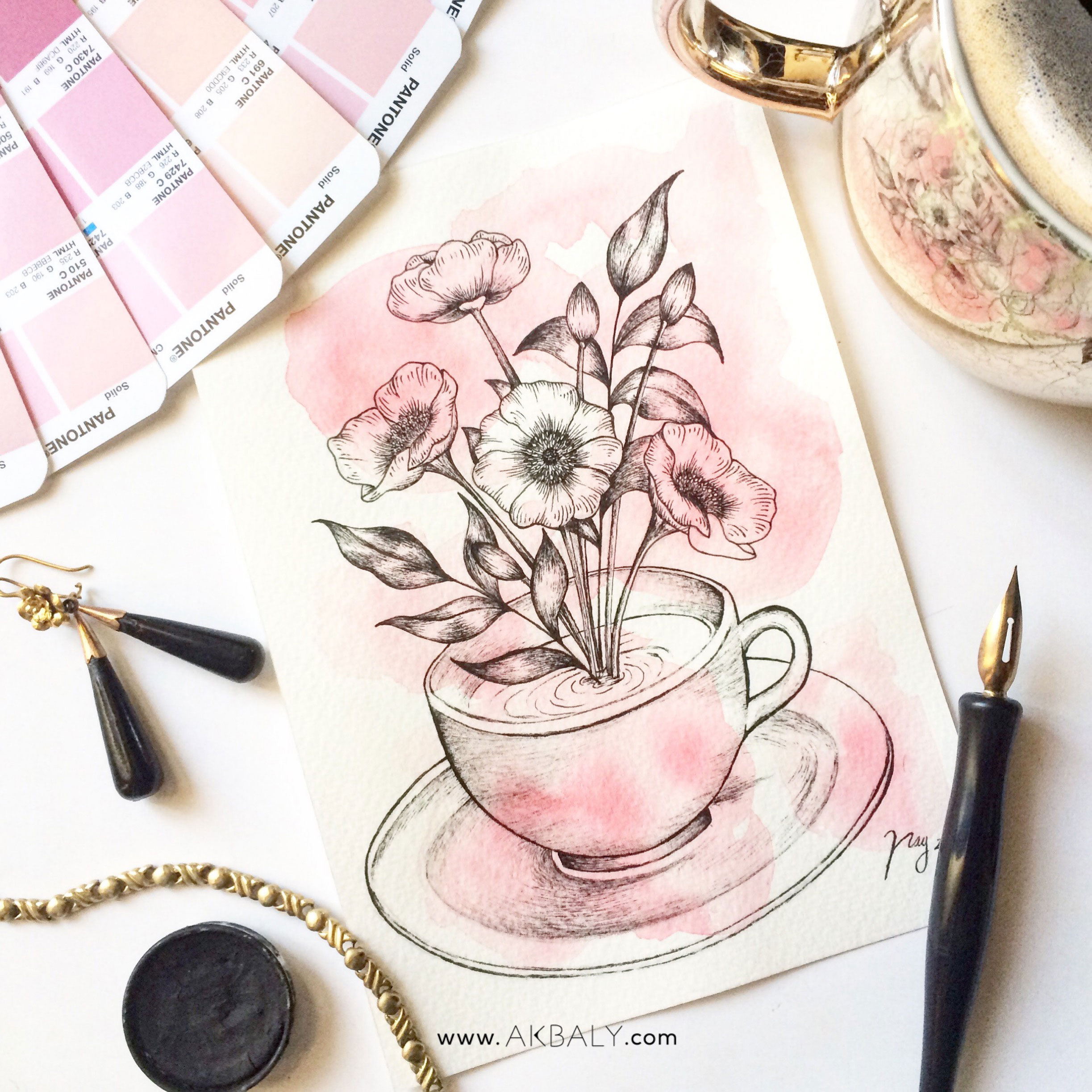 Illustration Floral Collection All In Pink Floral Tea Prints Postcards Ink Watercolor