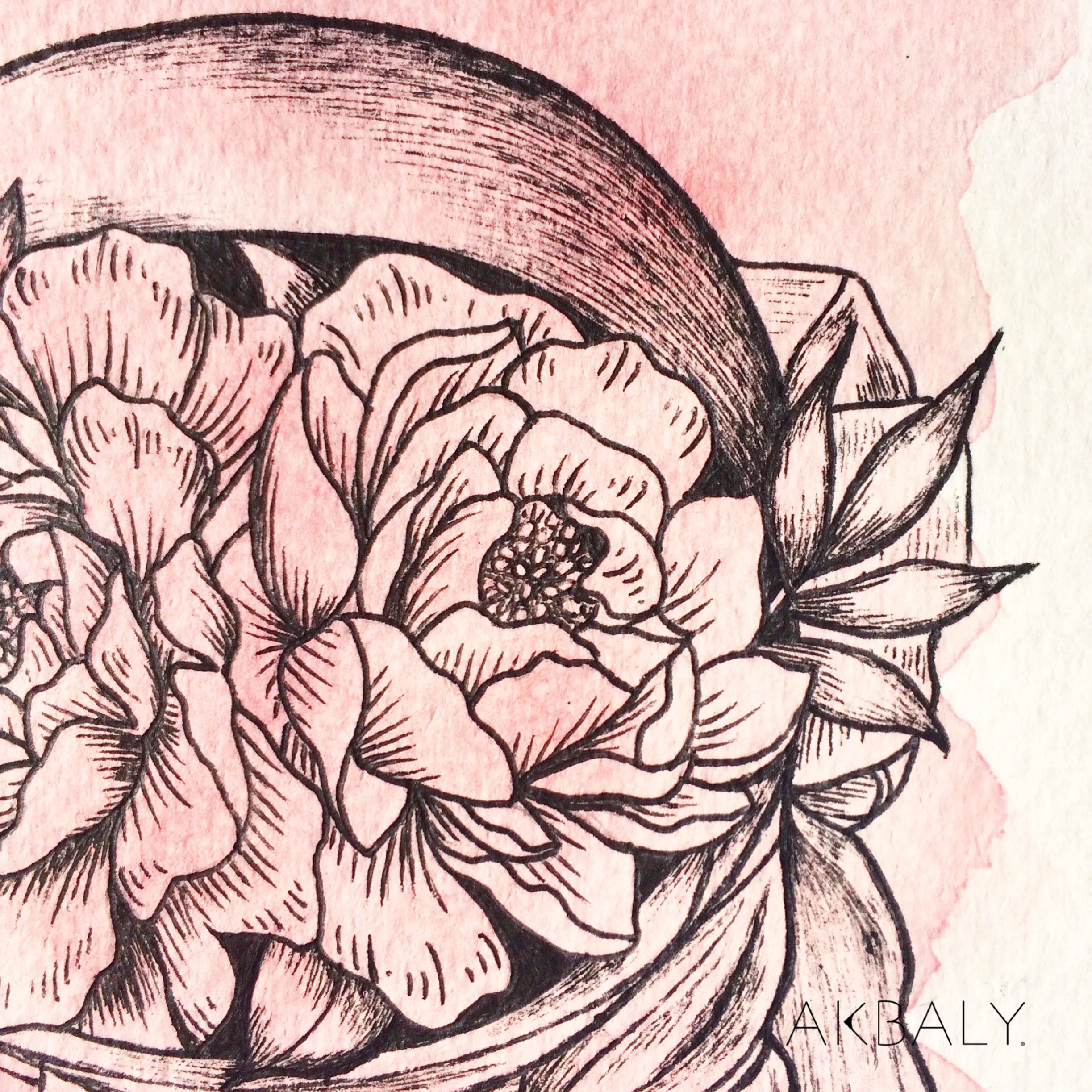Illustration Floral Collection All In Pink Floral Astronaut Close Up Ink Watercolor