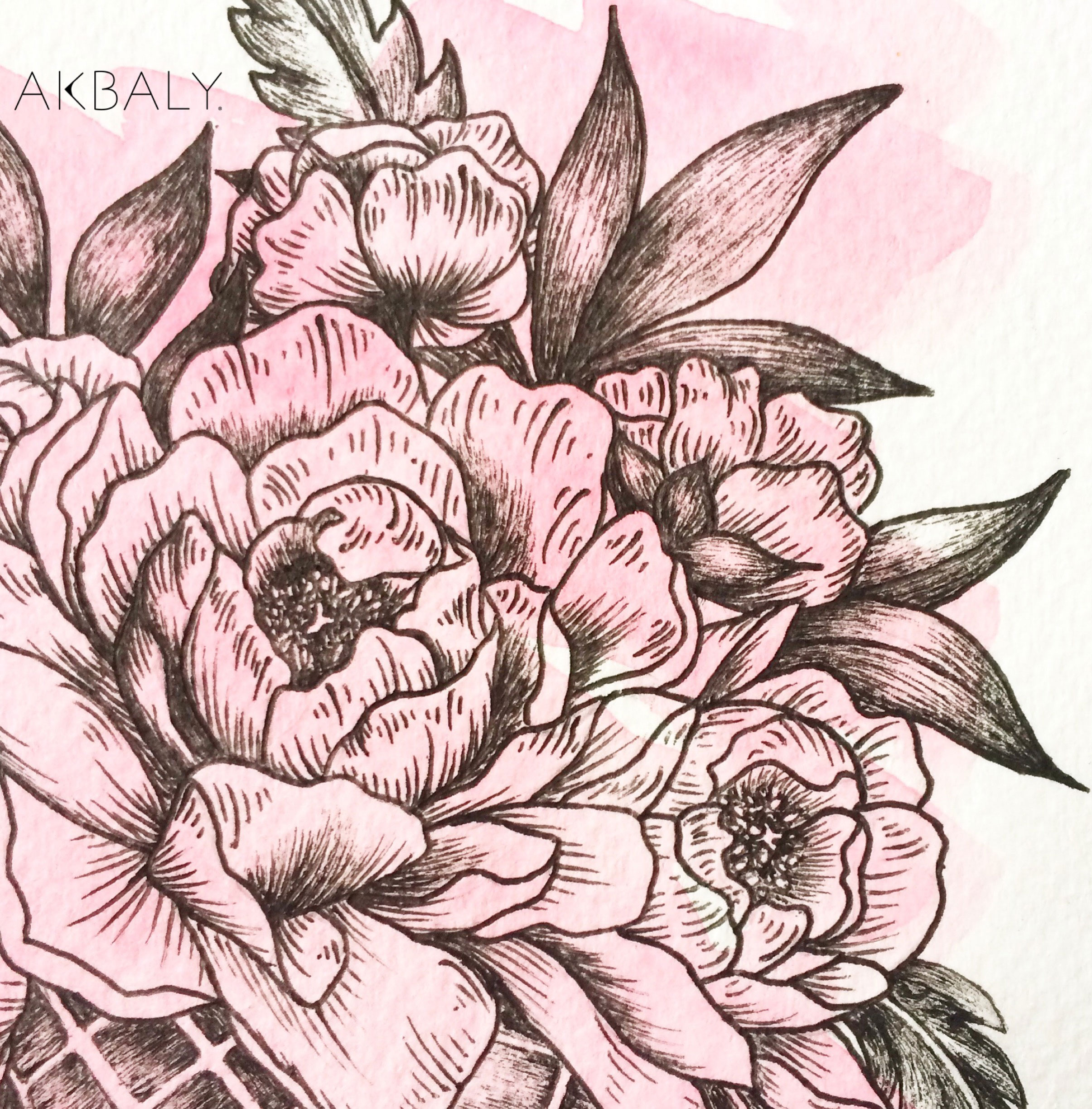 Illustration Floral Collection All In Pink Floral Ice cream Close Up Ink Watercolor