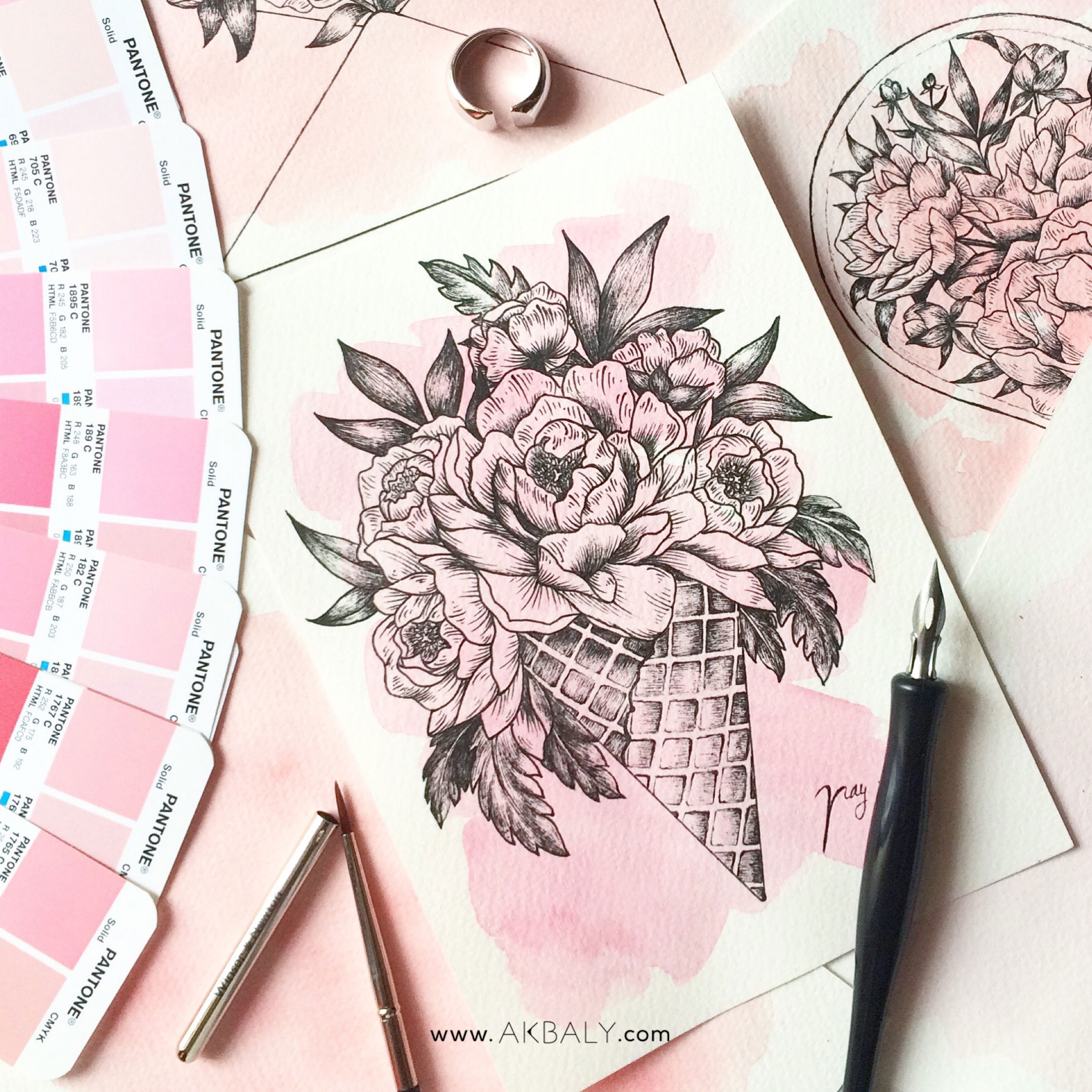 Illustration Floral Collection All In Pink Floral Ice cream Prints Postcards Ink Watercolor