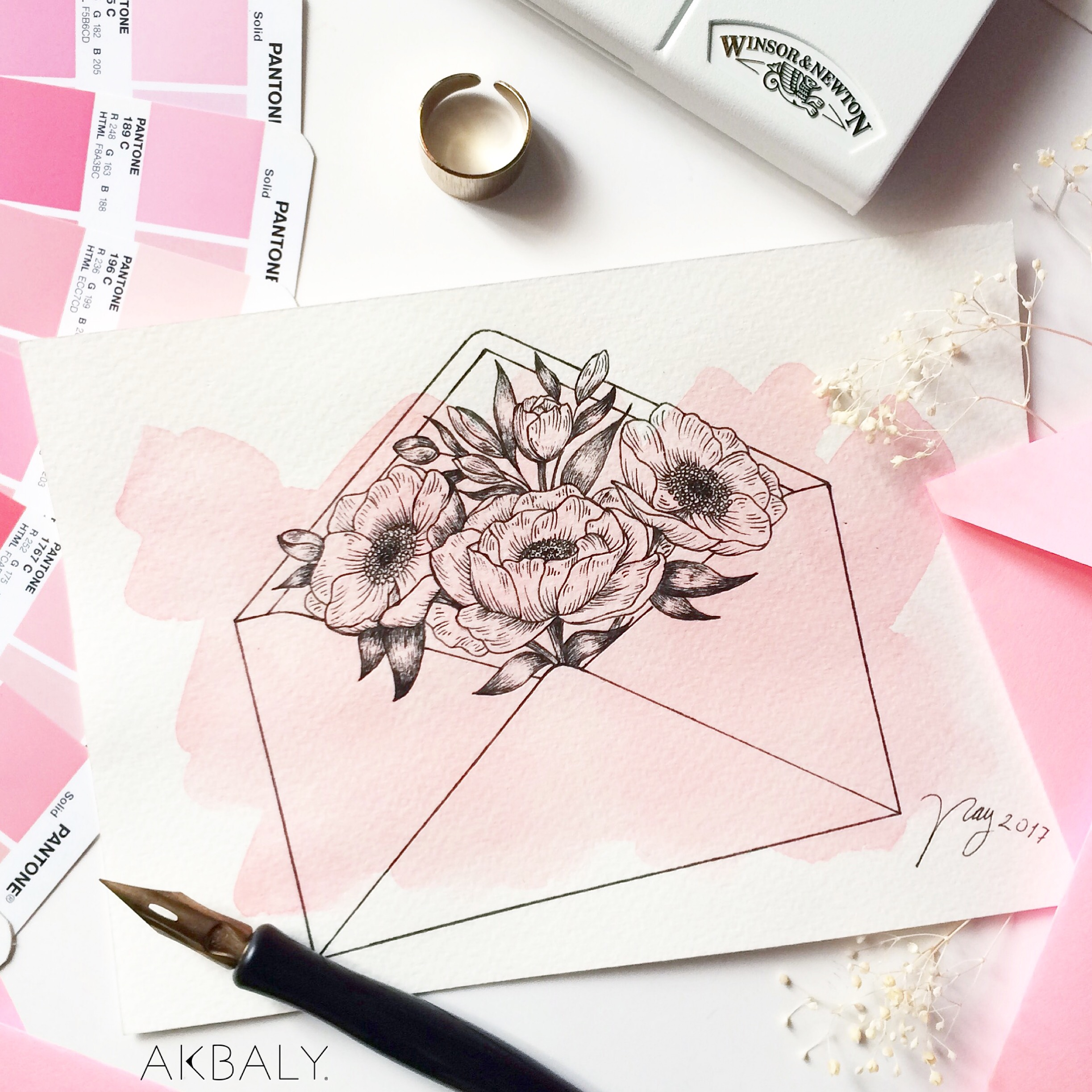 Illustration Floral Collection All In Pink Floral Envelope Prints Postcards Ink Watercolor