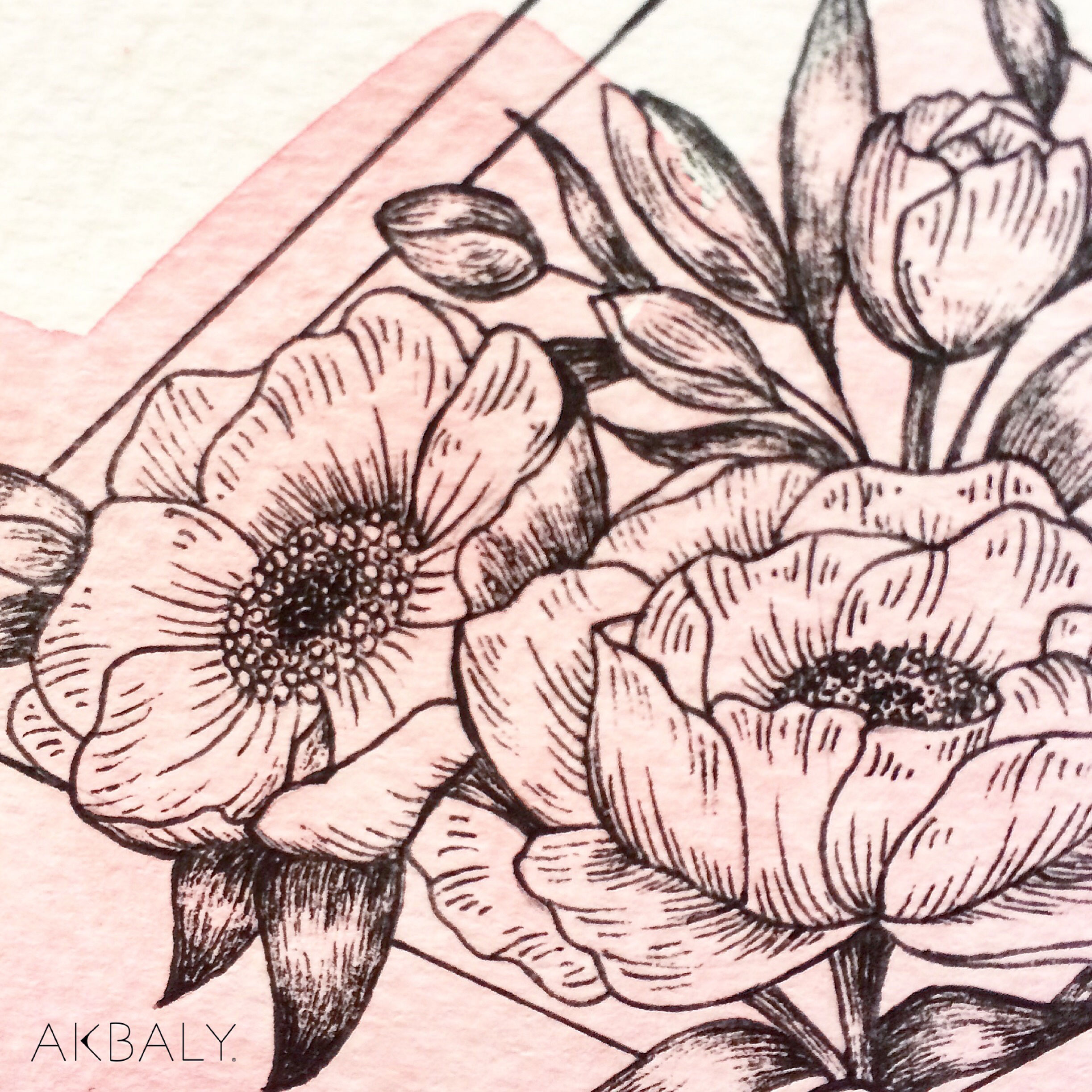 Illustration Floral Collection All In Pink Floral Envelope close up Ink Watercolor