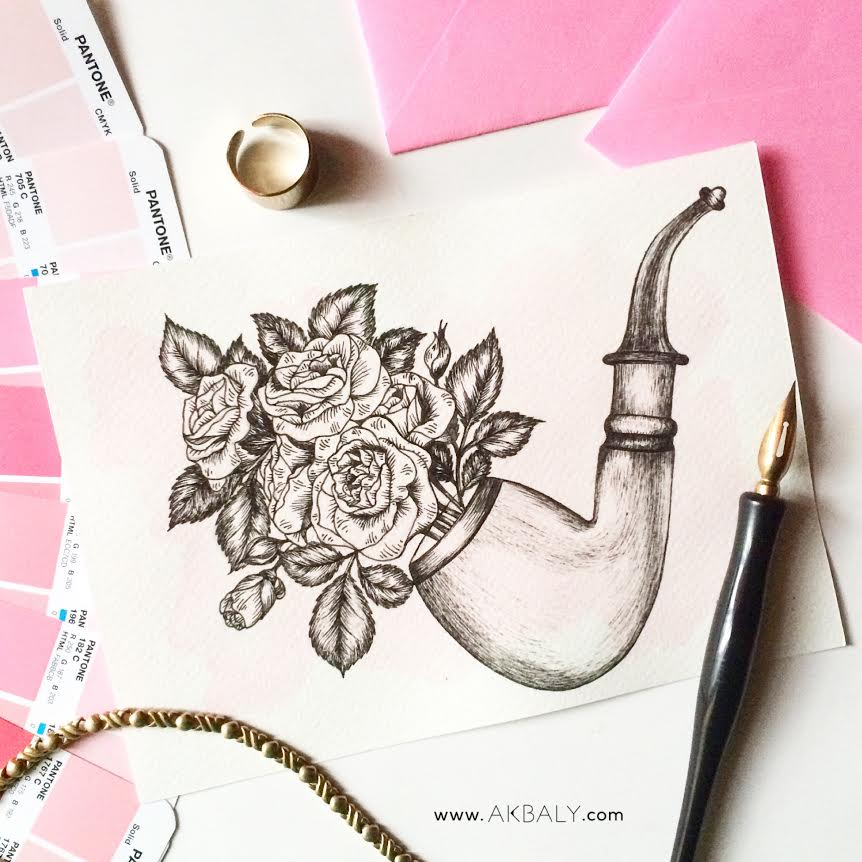 Illustration Floral Collection All In Pink Floral Floral Pipe Prints Postcards Ink Watercolor