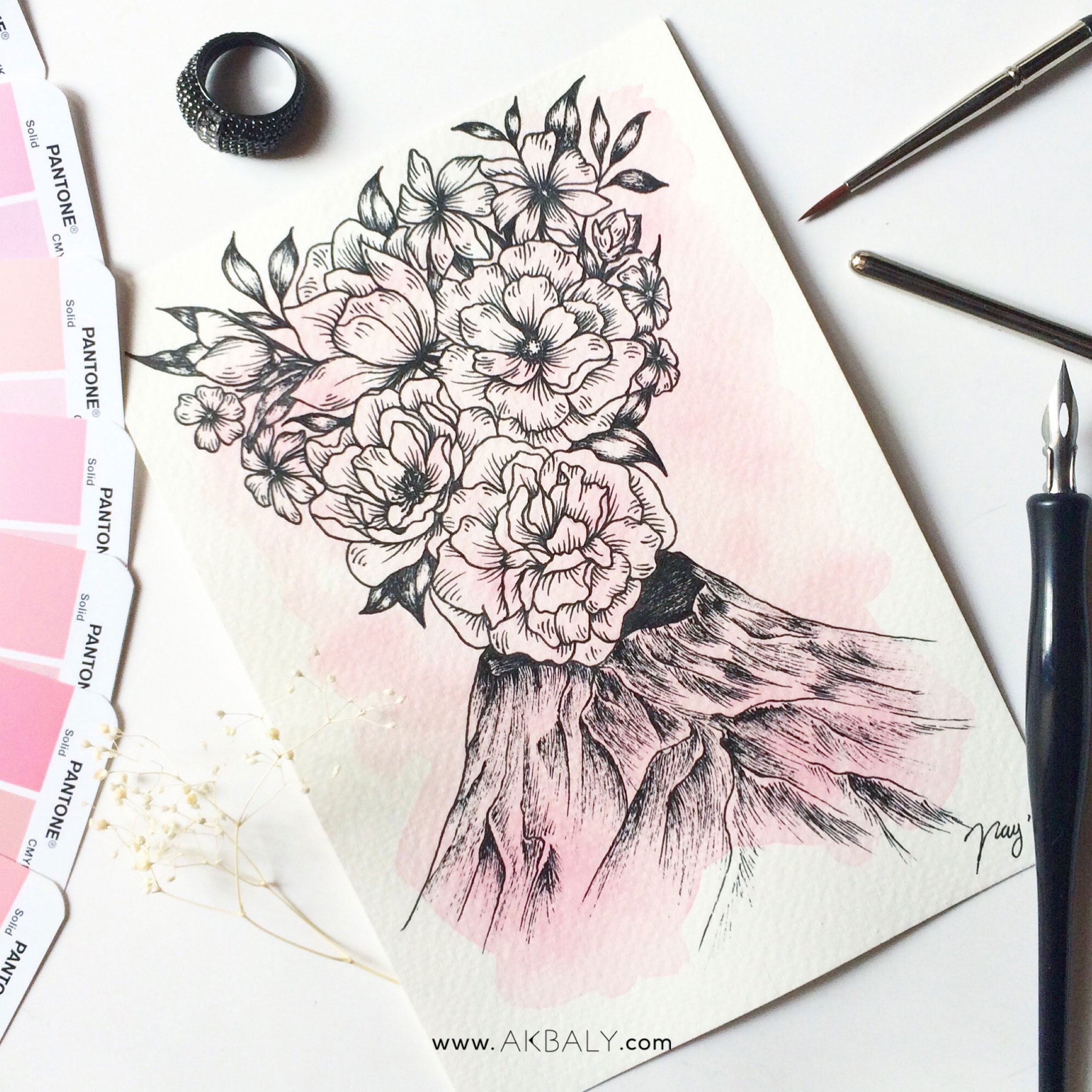 Illustration Floral Collection All In Pink Floral Volcano Prints Postcards Ink Watercolor
