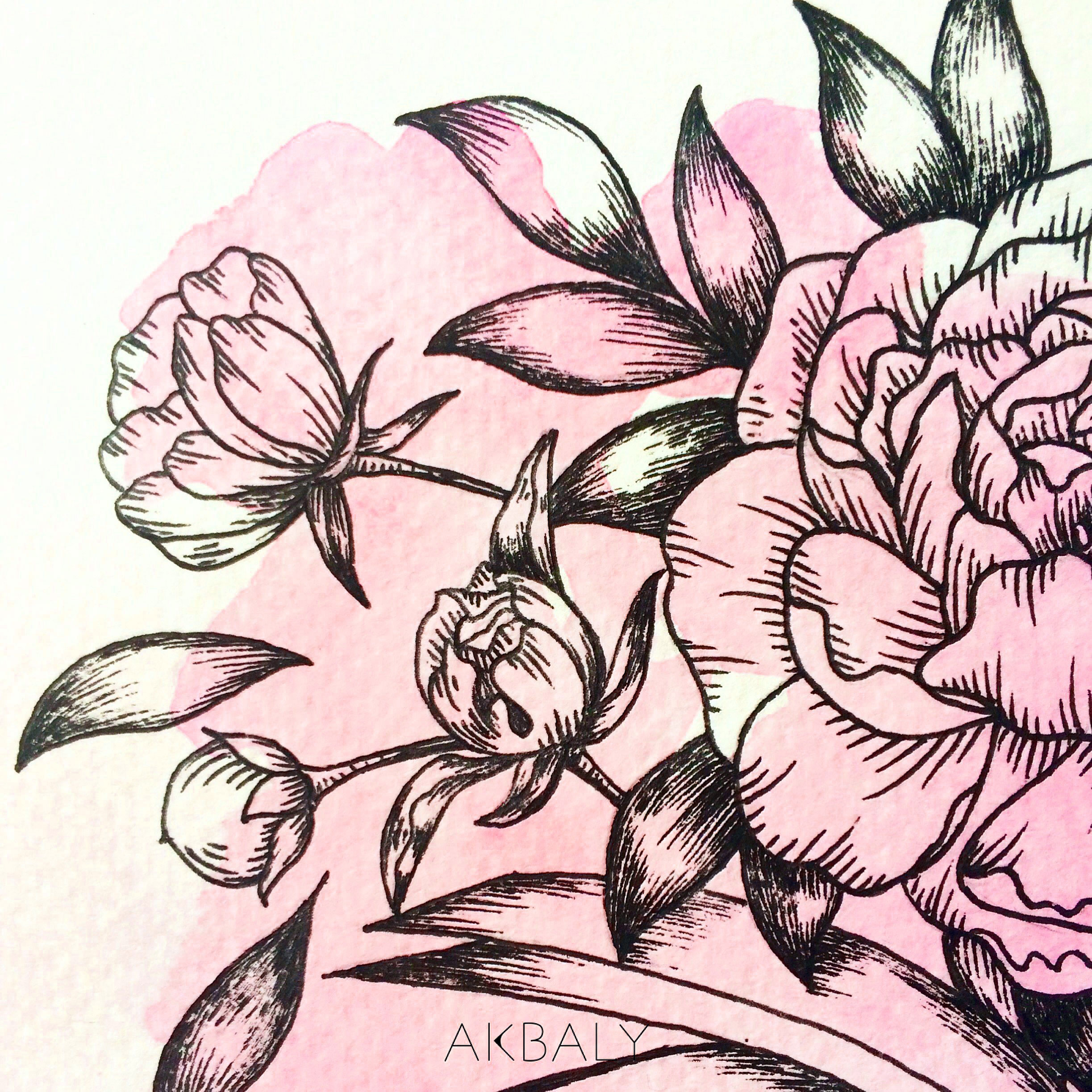 Illustration Floral Collection All In Pink Floral Book close up Ink Watercolor
