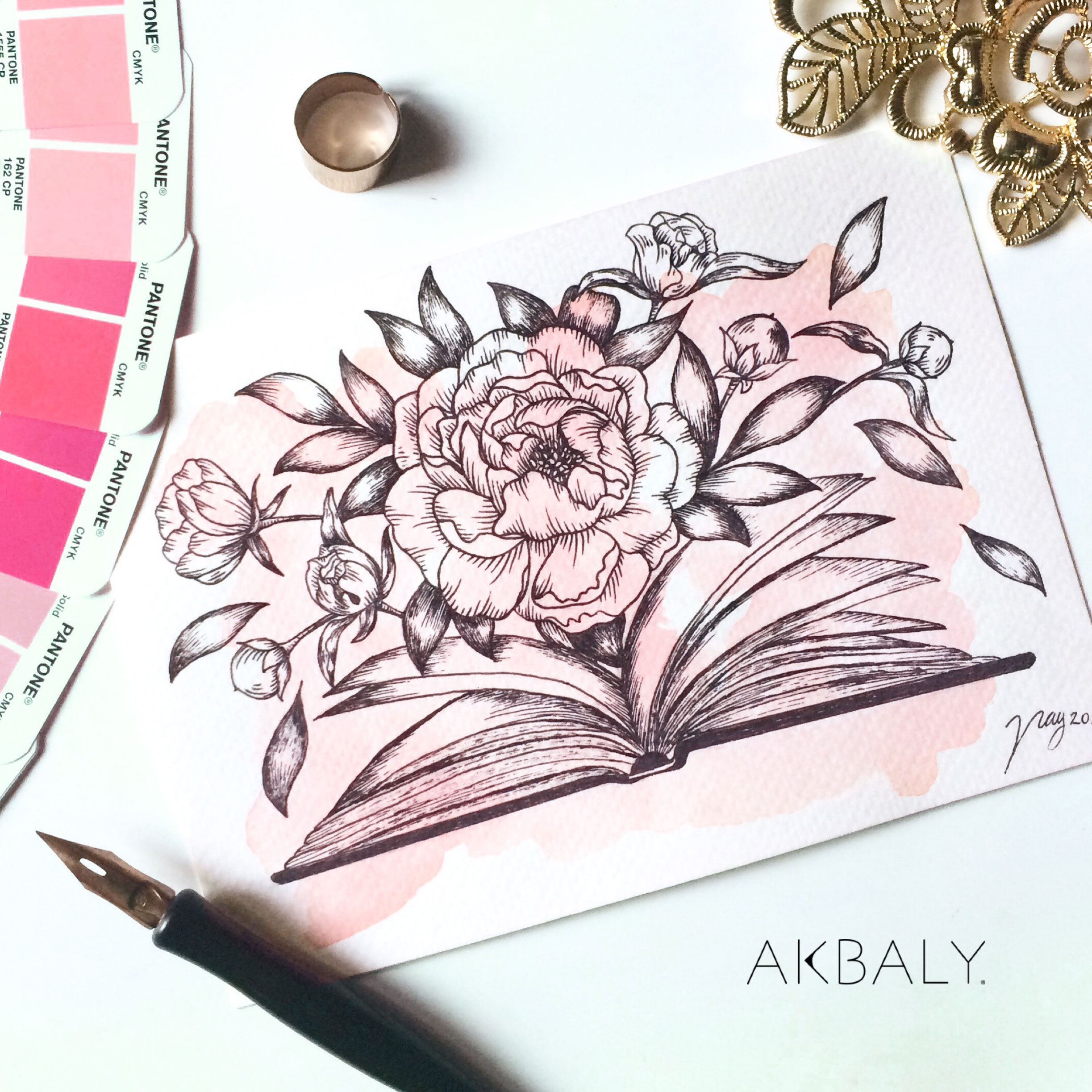Illustration Floral Collection All In Pink Floral Book Prints Postcards Ink Watercolor