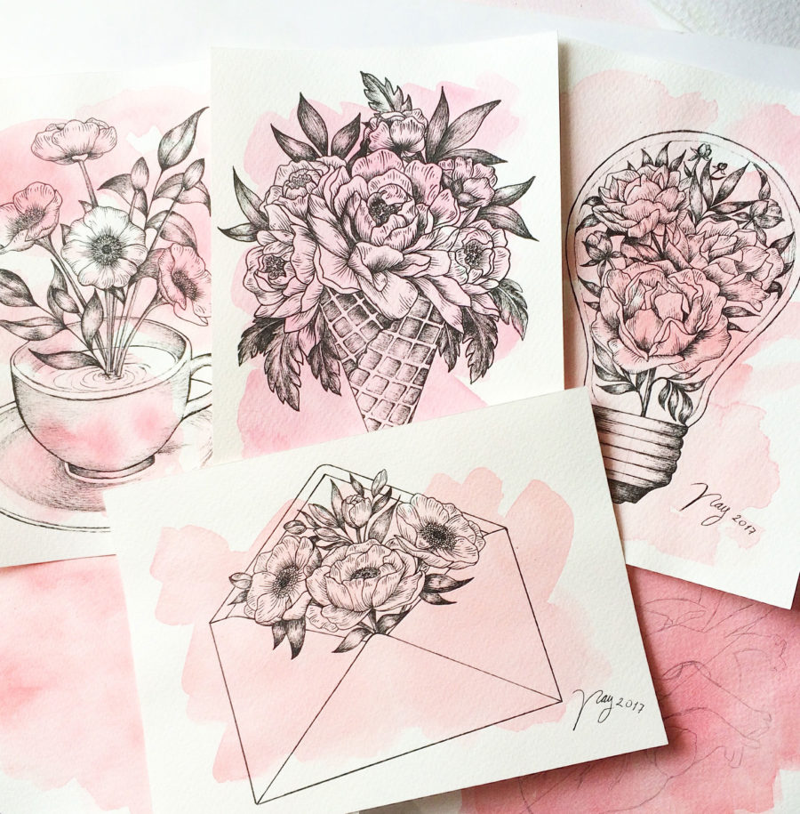 Akbaly Print Collection All In Pink Illustration Drawing Floral Ink Watercolor