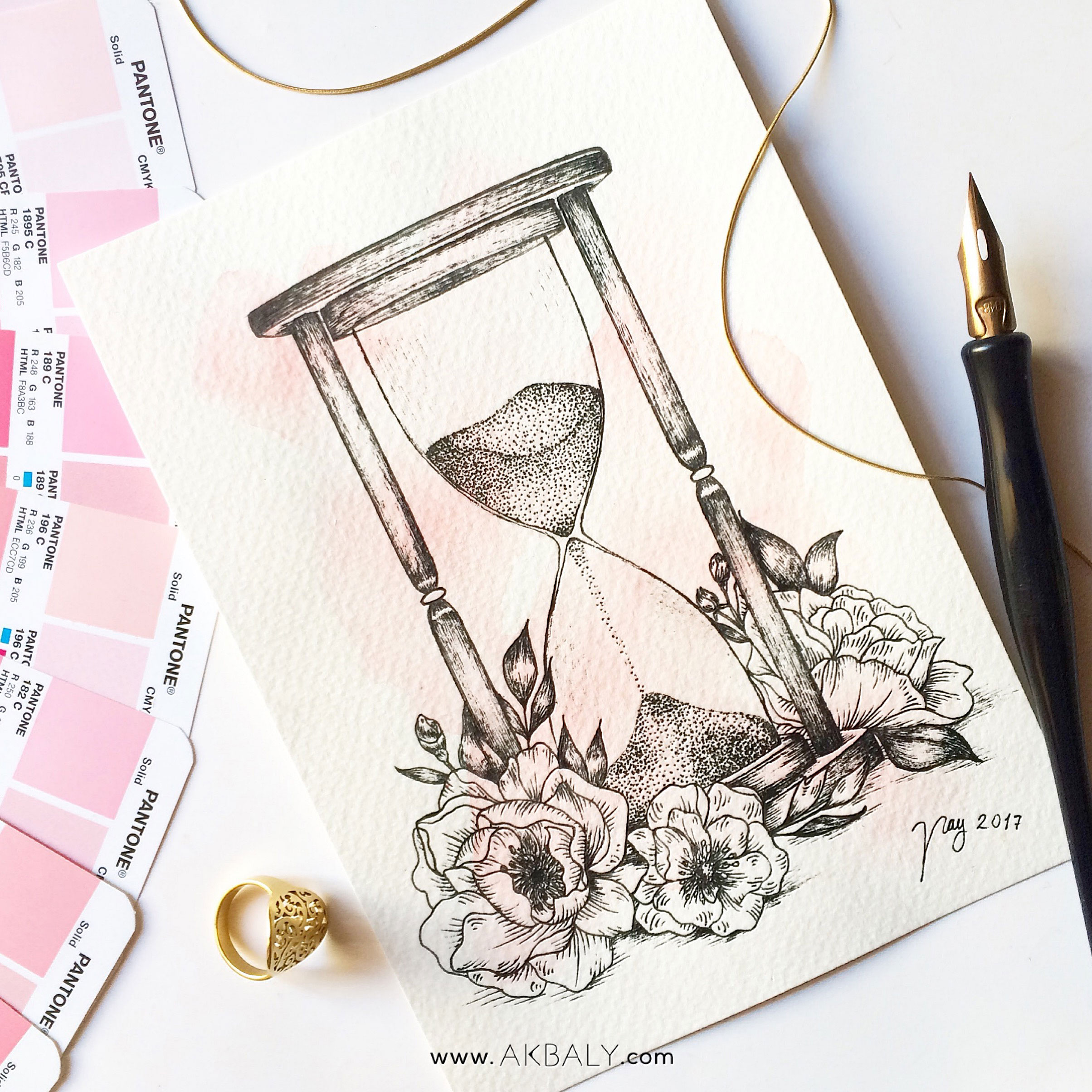 Illustration Floral Collection All In Pink Floral Hourglass Prints Postcards Ink Watercolor