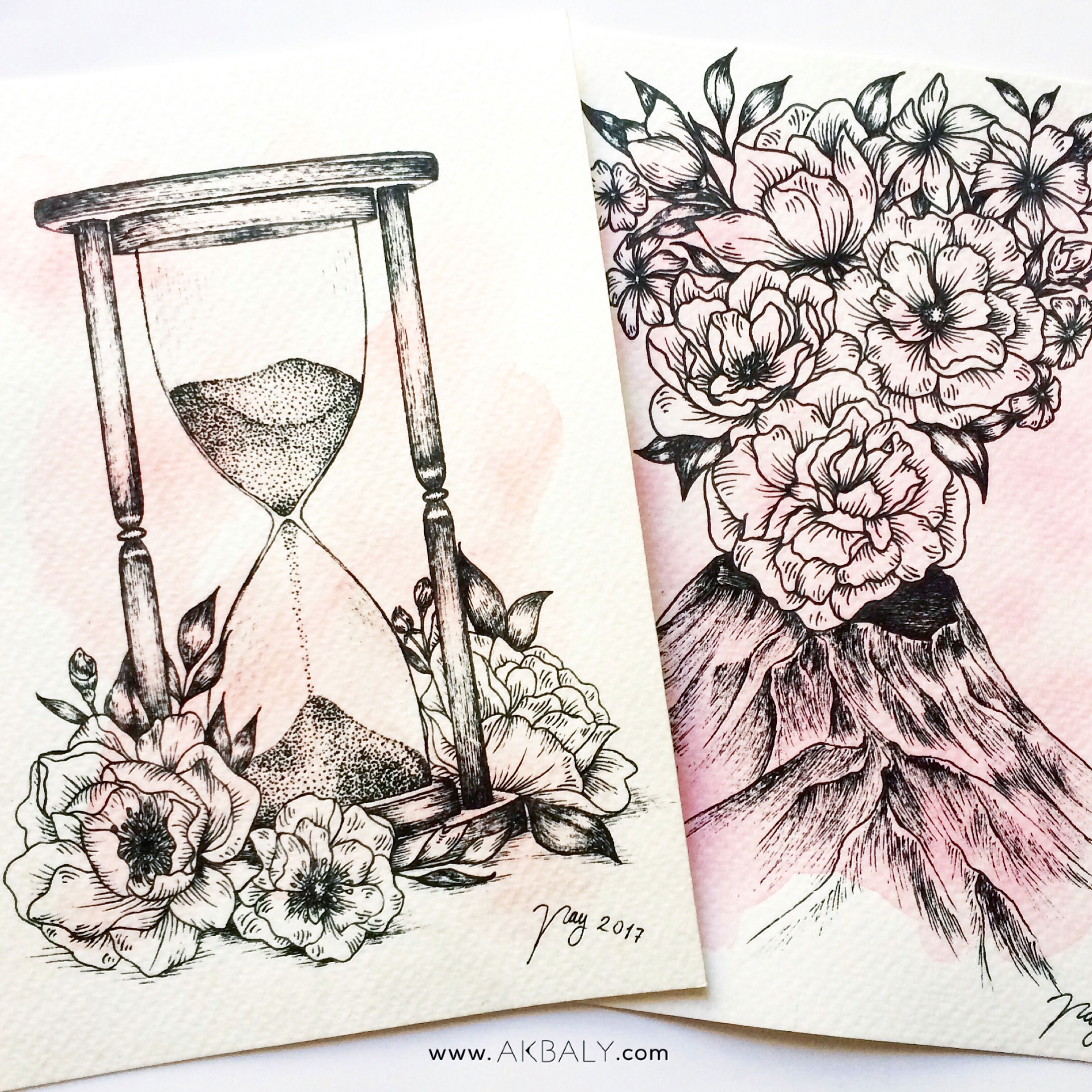 Illustration Floral Collection All In Pink Floral Hourglass close up Ink Watercolor