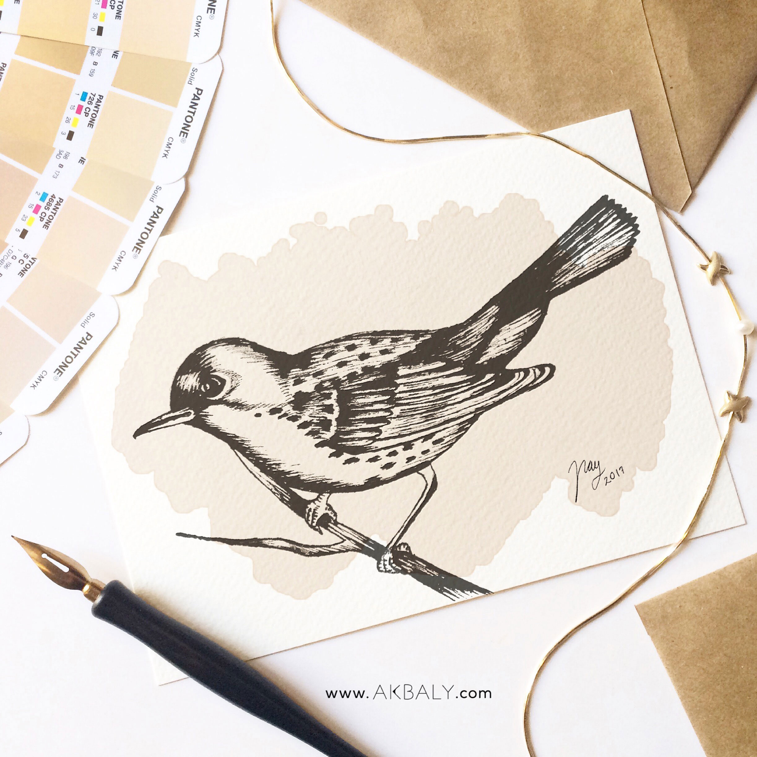Illustration Autumn Collection Bird Prints Postcards Ink Watercolor