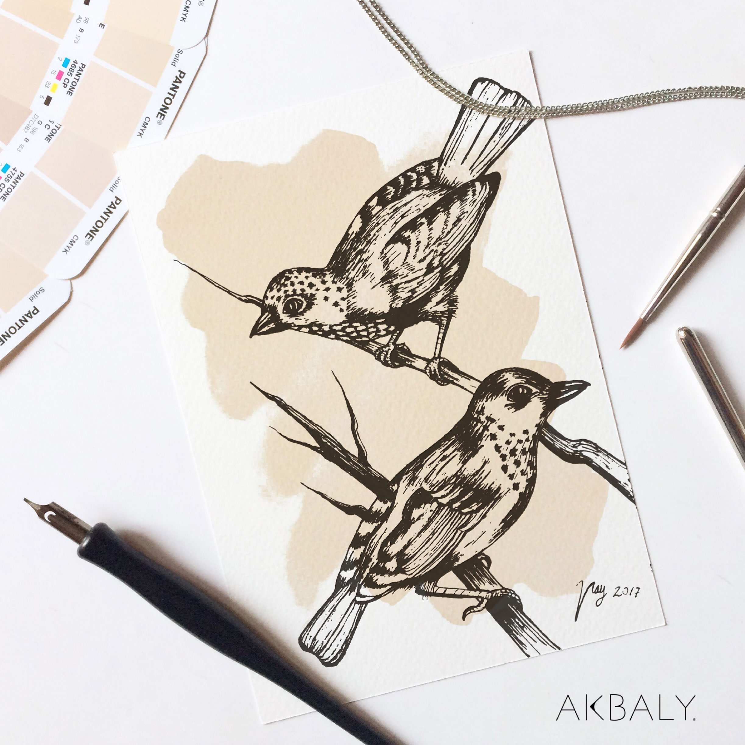 Illustration Autumn Collection Birds Prints Postcards Ink Watercolor