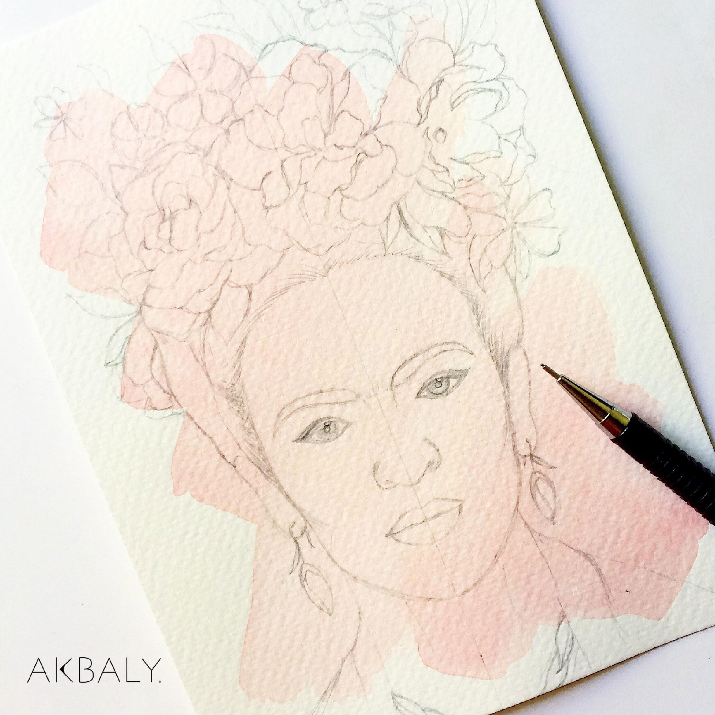 Illustration Floral Frida Prints Postcards Ink Watercolor Woman Women Inspiration Sketch