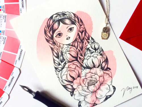 Illustration All In Red Floral Collection Matryoshka Prints Postcards Ink Watercolor