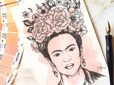 Illustration Floral Frida Prints Postcards Ink Watercolor Woman Women Inspiration