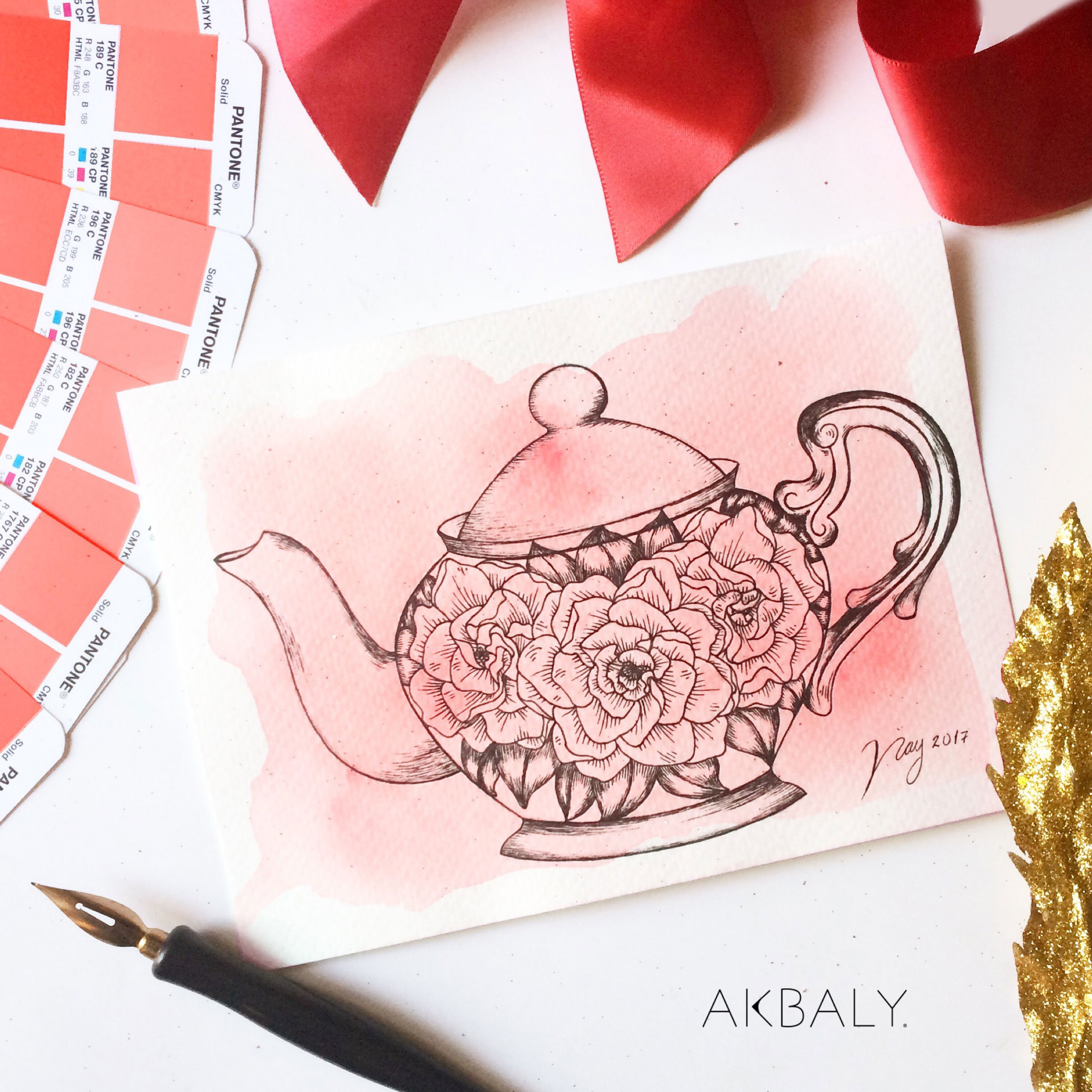 Illustration All In Red Floral Collection Jasmine Tea Prints Postcards Ink Watercolor