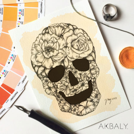 Illustration Mexican Floral Skull Prints Postcards Ink Watercolor Mexico Tradition Framed