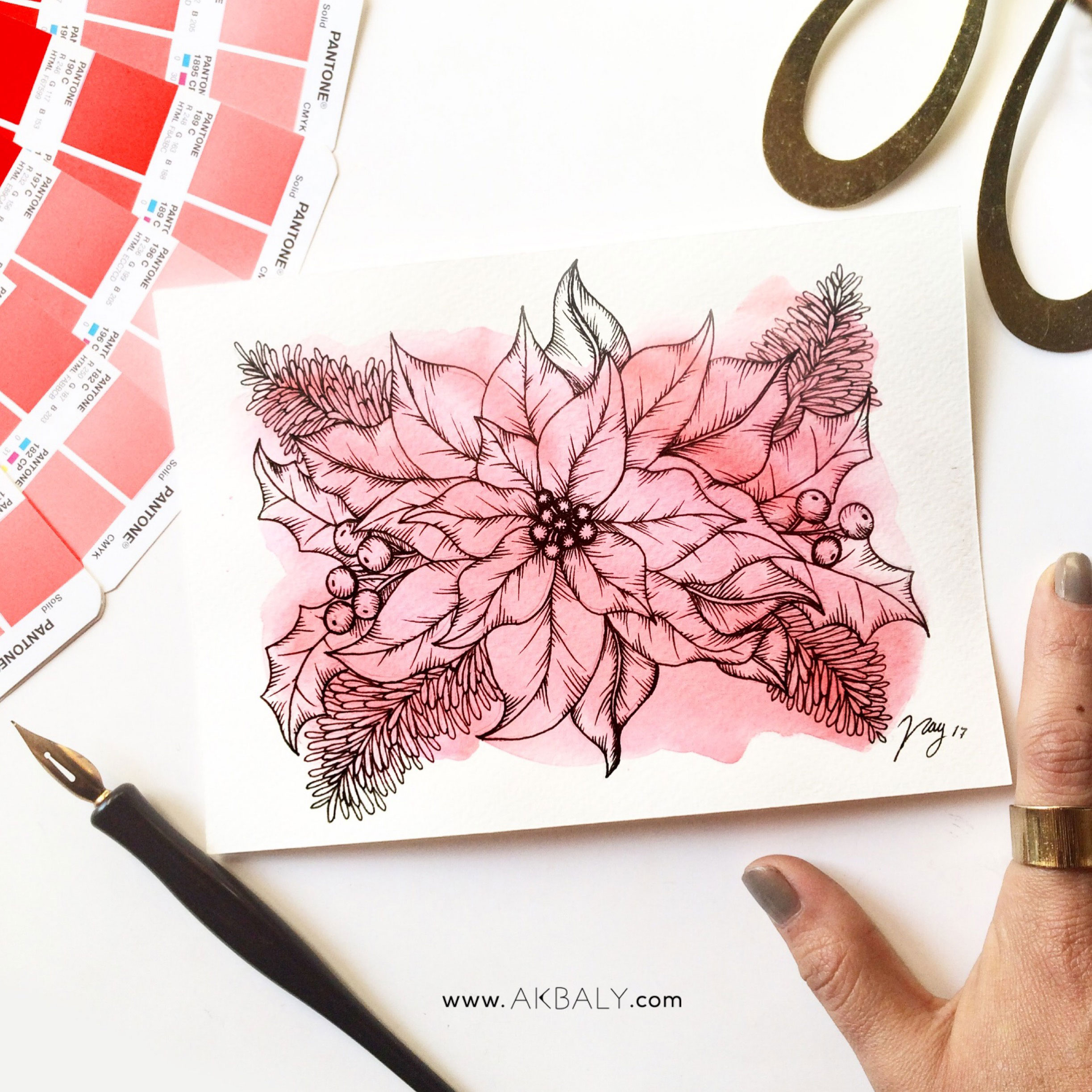 Illustration Christmas Collection Floral Poinsettia Prints Postcards Ink Watercolor Flower Tradition