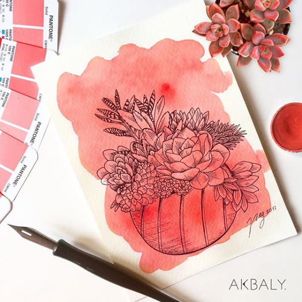 Illustration All In Red Floral Collection Succulent Lover Prints Postcards Ink Watercolor