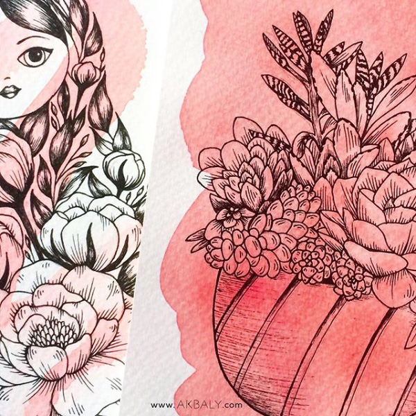Illustration All In Red Floral Collection Succulent Lover and Matryoshka Prints Postcards Ink Watercolor