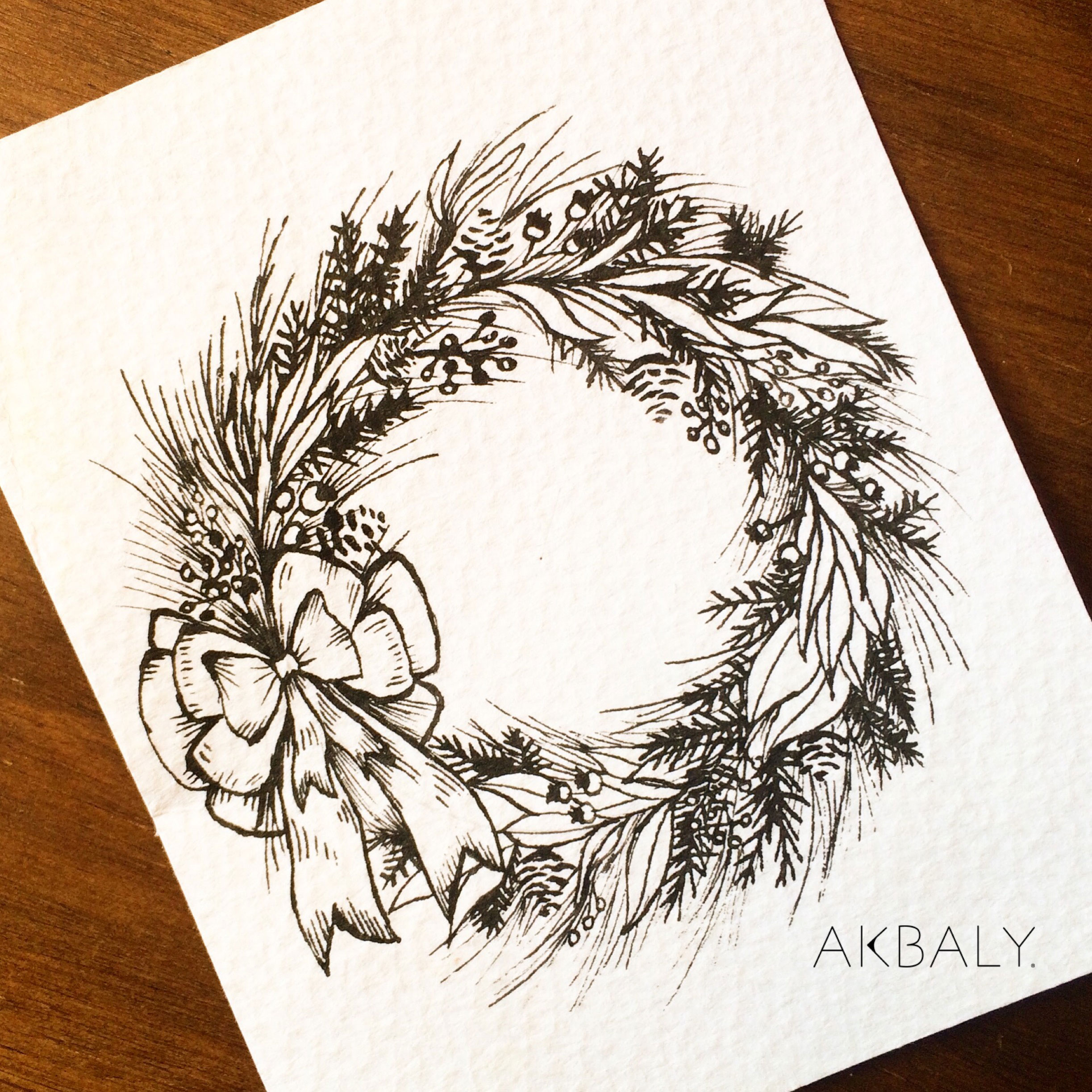 Illustration Christmas Floral Prints Postcards Ink Watercolor Wreath Tradition