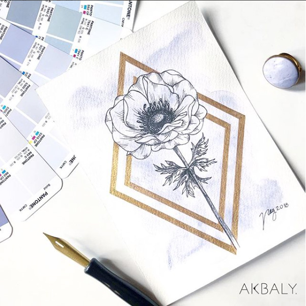 "Floral Illustration for ""Anemone"" by Akbaly Prints Postcards Ink Watercolor"