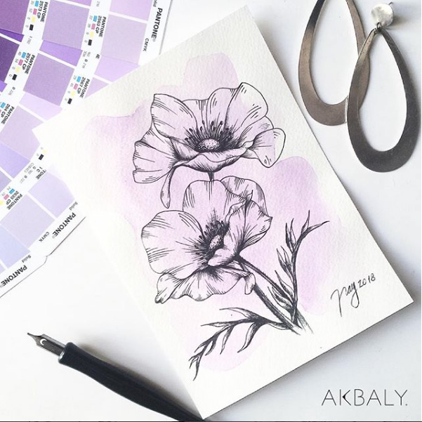 Illustration All In Purple Floral Collection Anemones Prints Postcards Ink Watercolor