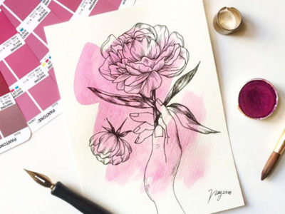 Illustration All In Fucsia Floral Collection Catching Flowers Prints Postcards Ink Watercolor