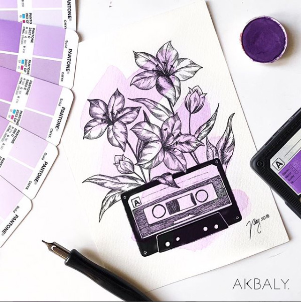 Illustration All In Purple Floral Collection Floral Cassette Prints Postcards Ink Watercolor