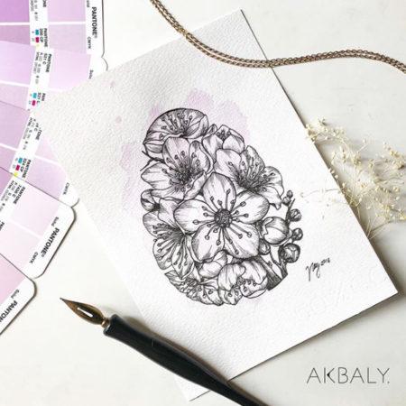 "Floral Illustration for ""Floral Easter Egg"" by Akbaly Prints Postcards Ink Watercolor"