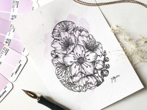 "Floral Illustration for ""Floral Easter Egg"" by Akbaly Prints Postcards Ink Watercolor"