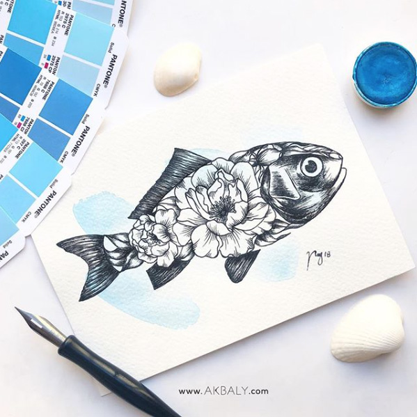 "Illustration ""Floral Fish"" by Akbaly Prints Postcards Ink Watercolor"
