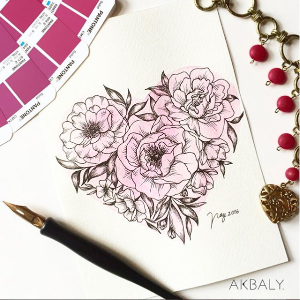 Illustration All In Fucsia Floral Collection Floral Heart Bouquet Prints Postcards Ink Watercolor