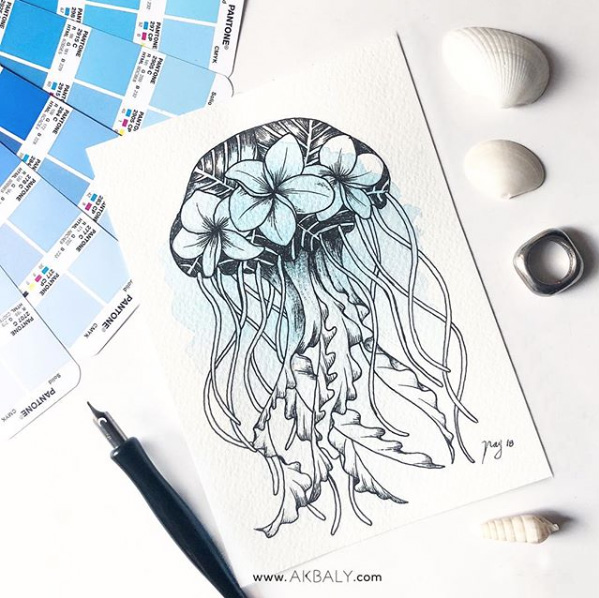 "Illustration ""Floral Jellyfish"" by Akbaly Prints Postcards Ink Watercolor"