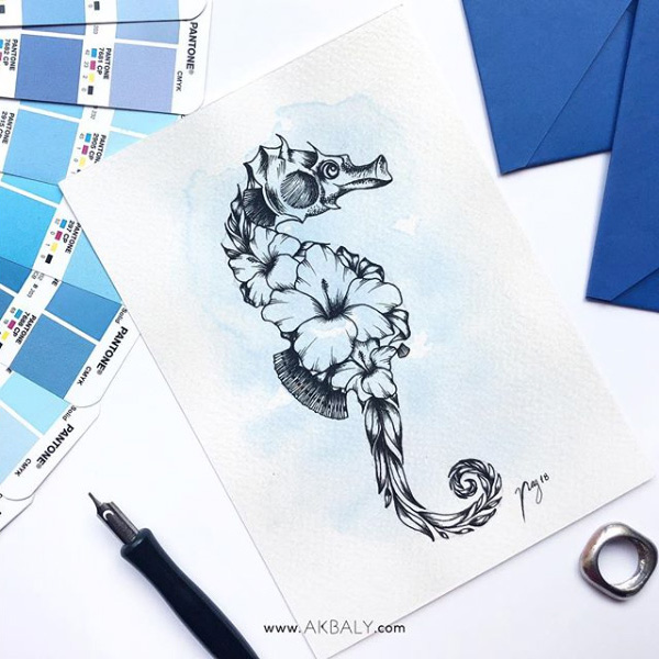 "Illustration ""Floral Seahorse"" by Akbaly Prints Postcards Ink Watercolor"