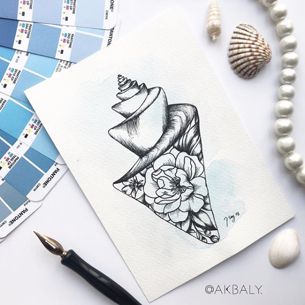 "Illustration ""Floral Shell"" by Akbaly Prints Postcards Ink Watercolor"