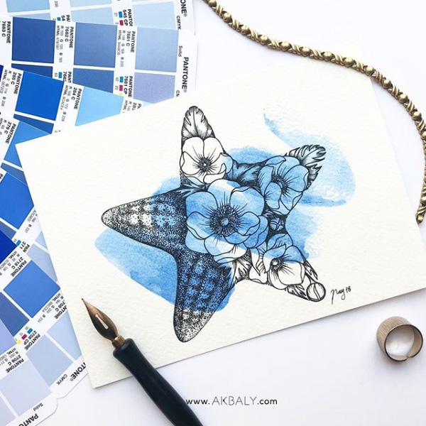 "Illustration ""Floral Starfish"" by Akbaly Prints Postcards Ink Watercolor"