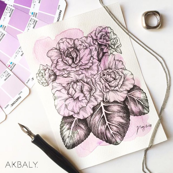 Illustration All In Purple Floral Collection Gloxinia Prints Postcards Ink Watercolor
